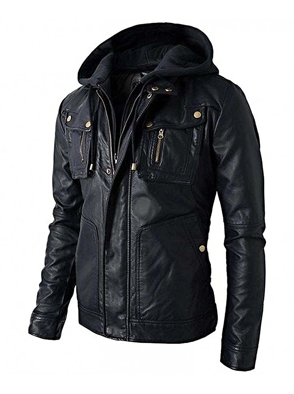 Men's Brando Motorcycle Style Biker Leather Hoodie Jacket - Detachable Hood Coat The Custom Jacket
