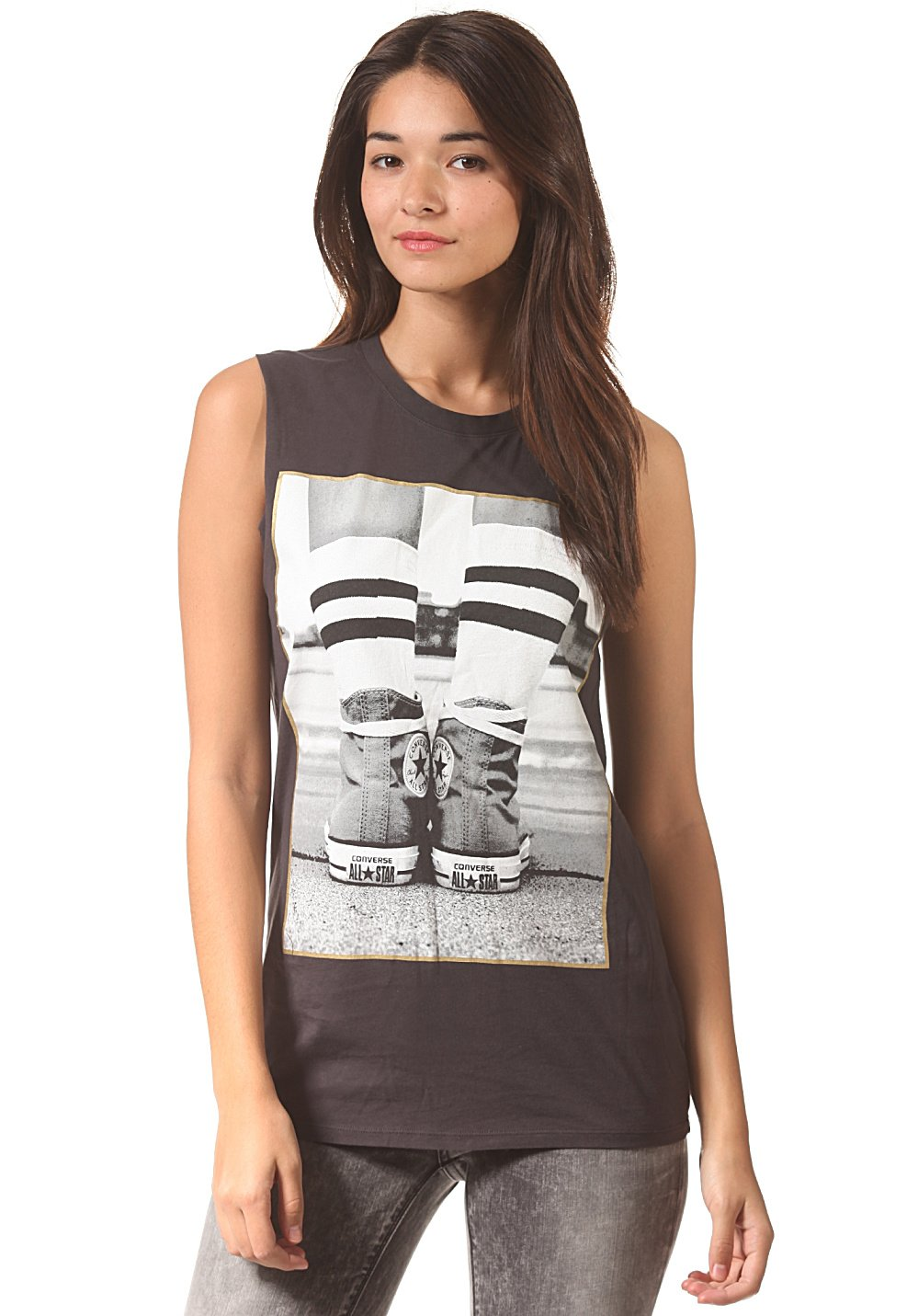Converse Shirt. Damen. Kurzarm. Tolles Shirt für Freizeit und Sport geeignet. Black.