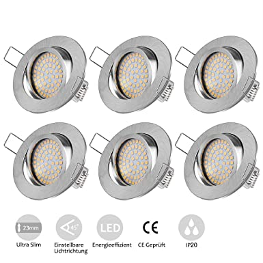 Tobbiheim LED Einbaustrahler Set, 6 x 5W Deckenstrahler Schwenkbar Ultra Flach Inkl LED Modul 230V Deckenspots Einbauleuchte