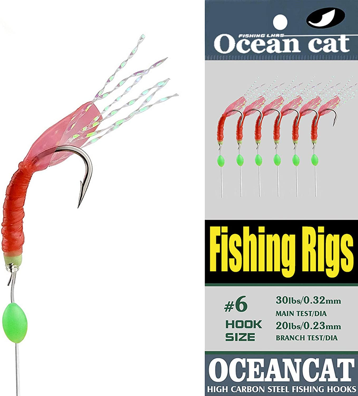5/10/25/50/100 Packs Fishing Rigs 6 Hook/Set Red Skin Rubber Silk String Hook Fishing Lure Saltwater Freshwater Bait Rig Tackle 5#6#7#8#9#10# : Sports & Outdoors