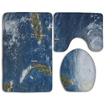 Satellite Map Of Florida.Amazon Com Fpdragon Irma Florida Satellite Map Bathroom 3 Piece Mat
