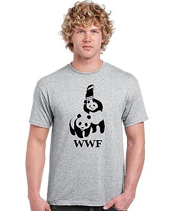 9582c5e579f6a3 WWF Panda Wrestling Save The Panda WWE Parody Unisex T Shirt Chair World  Wildlife  Amazon.co.uk  Clothing