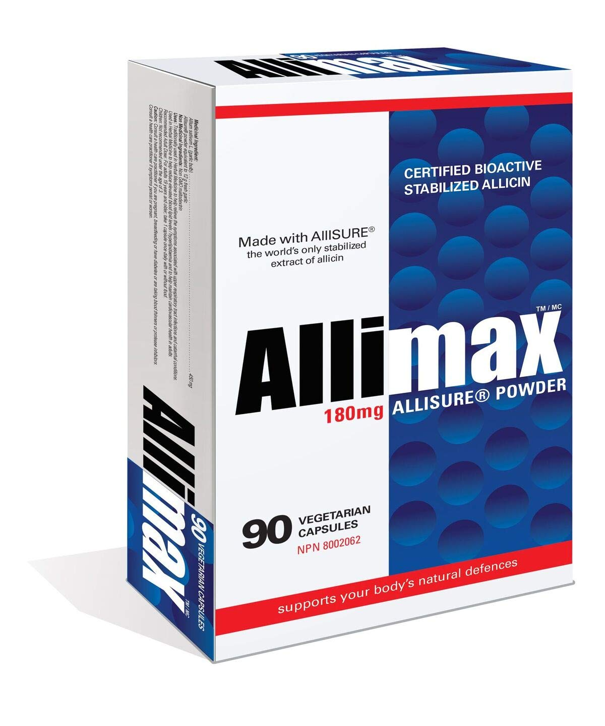 Allimax 180mg 90 Capsules. Allicin Garlic Supplement to Support Your Body's Immune Function. Contains Stabilized and Potent Bioactive Allicin, Extracted from Clean & Sustainable Spanish Grown Garlic.