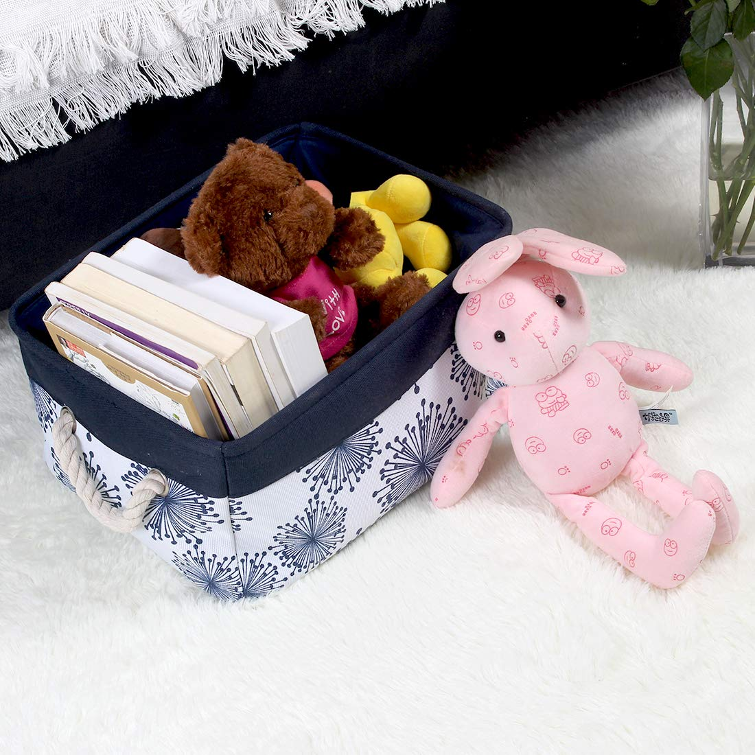 Medium - 14.2 x 10.2 x 6.7 BEYONDY Storage Bins,Fabric Storage Baskets Towel Storage Bin Laundry Toy Basket w Drawstring Closure, Dinosaur