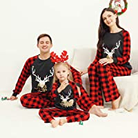 OhhGo - Conjunto de pijama de Navidad para familia, pijama a juego para mujer, hombre, niño y bebé