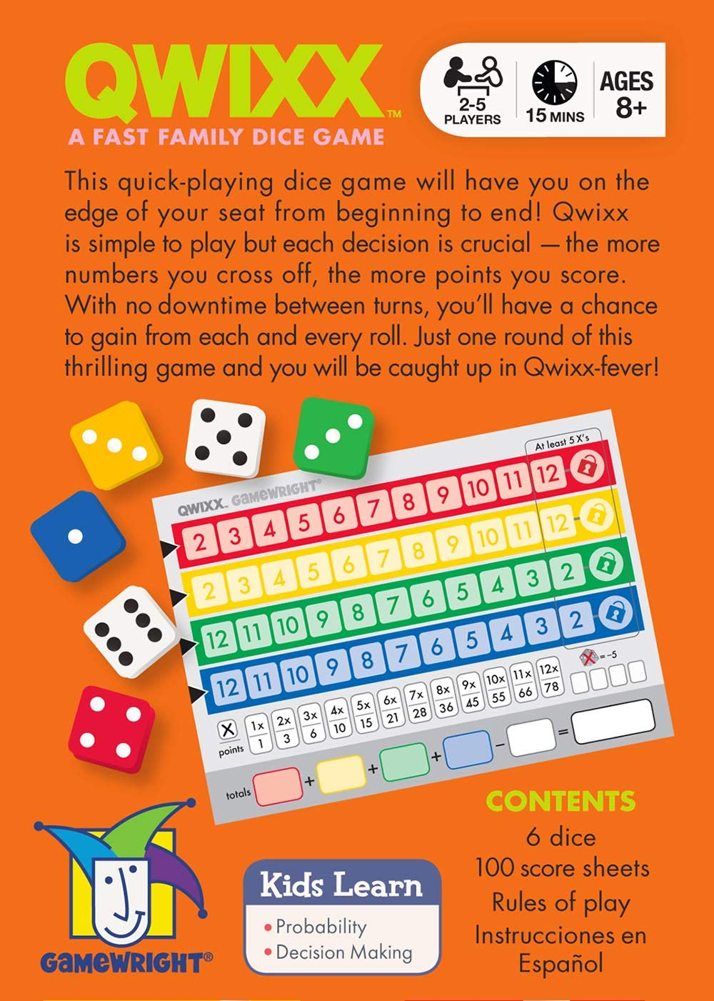 A Fast Family Dice Game Ceaco 1201 Qwixx