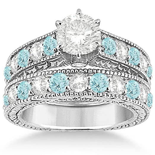 Amazoncom Antique Diamond and Aquamarine Bridal Gemstone Wedding