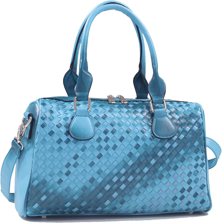 Isabelle Classic Woven Leather Zip Satchel Handbag