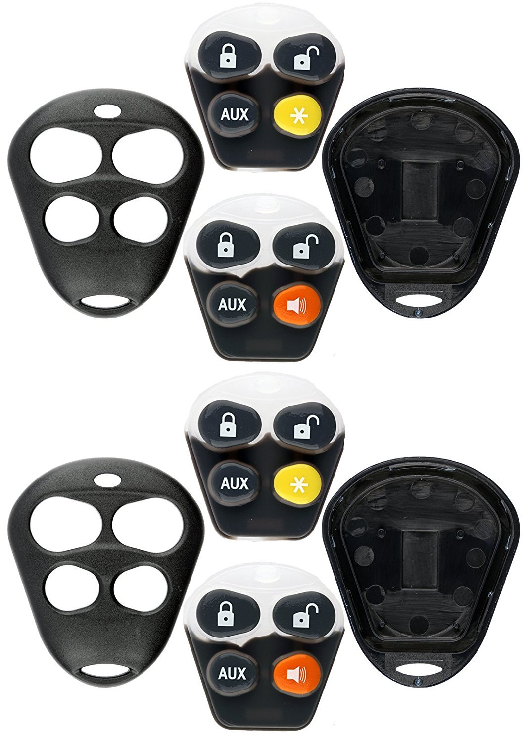 Pack of 2 KeylessOption Keyless Entry Remote Control Starter Car Key Fob Case Shell Outer Cover Button Pads For Viper Automate Alarms