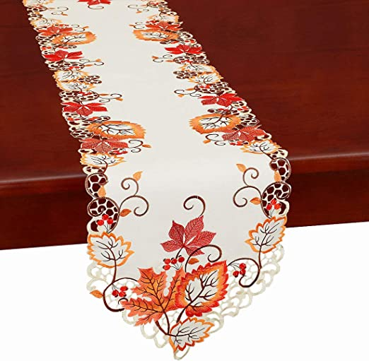 Embroidered Maple Leaves Table Runner Table Cover Fall Thanksgiving Party Decor