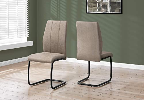 Monarch Specialties CHAIR-2PCS / 39″ H/TAUPE FABRIC/BLACK METAL DINING CHAIR