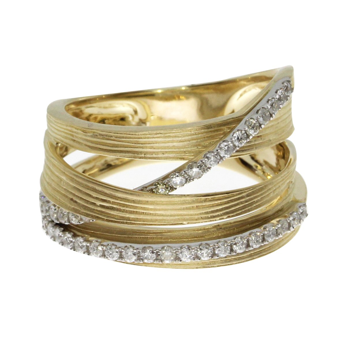 14k Yellow Gold Brushed Wide Diamond Ring (Size 10)