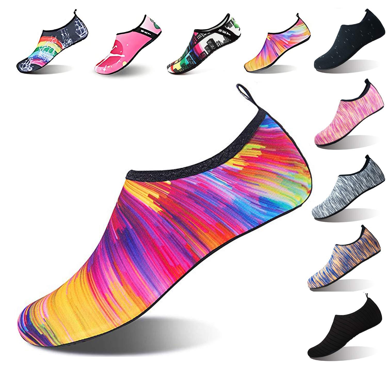 Jjyee Summer Outdoor Water Shoes Barefoot Aqua Socks for Beach Swim Surf Yoga Exercise for Men Women (S(W:5.5-6.5,M:5-5.5), Orange/Colorful) by Jjyee (Image #1)