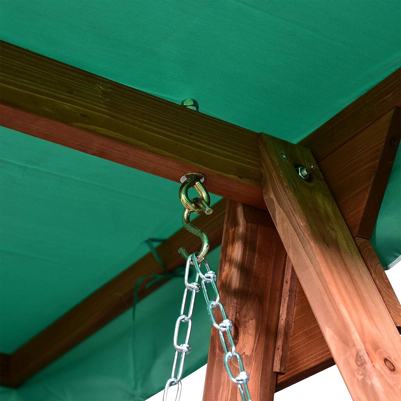 Massivholz 160 x 120 x 165 cm Outsunny Gartenschaukel f/ür 2 Personen Hollywoodschaukel Schaukelbank mit Dach Gr/ün