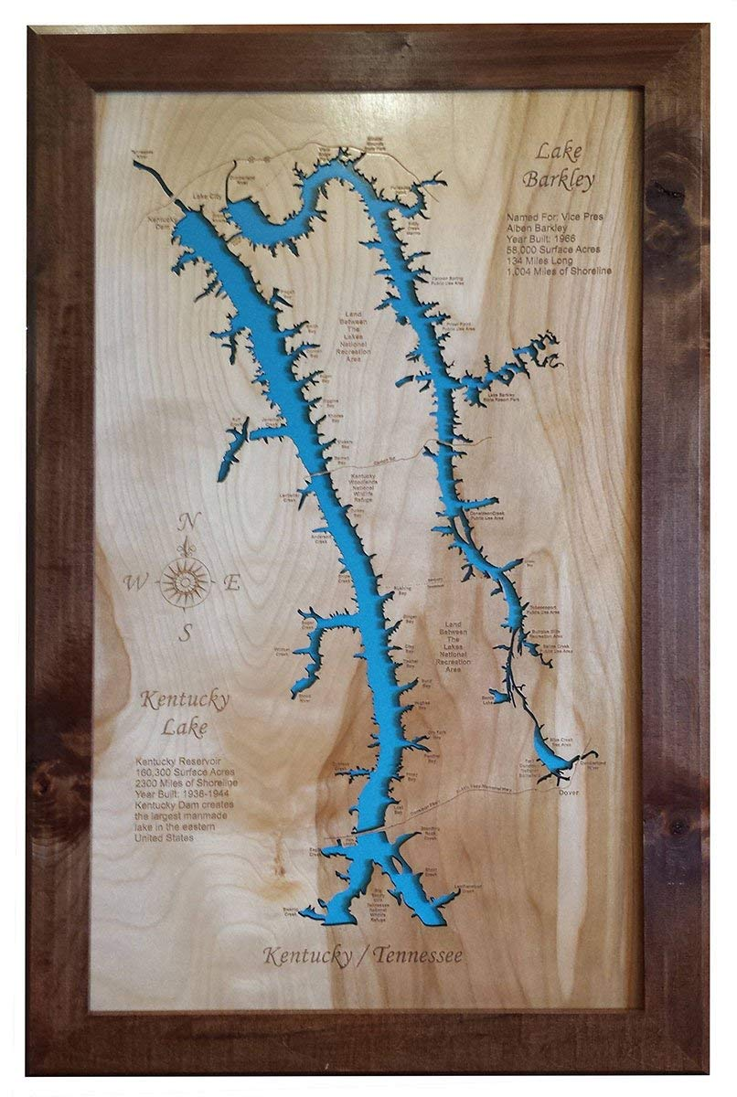 LAKE BARKLEY AND KENTUCKY LAKE: FRAMED WOOD MAP WALL HANGING