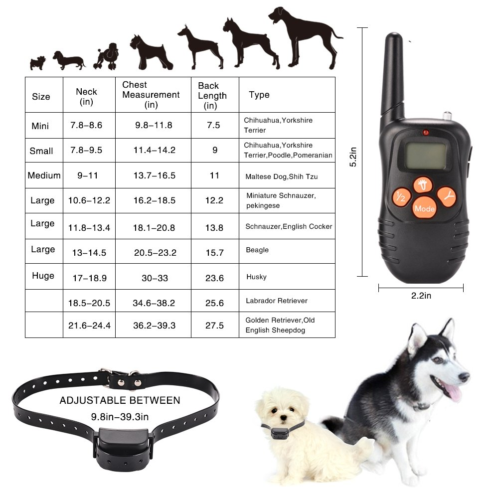 ETbotu Dog Training Collar Remote Waterproof and Rechargeable Electric E-Collar with Beep Vibration Shock 300Meters