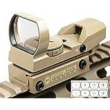 9687【Hollow tech製】TANカラーNitro.Voタイプ リフレックス クアトロダットサイト レティクル4種 レッド/グリーン