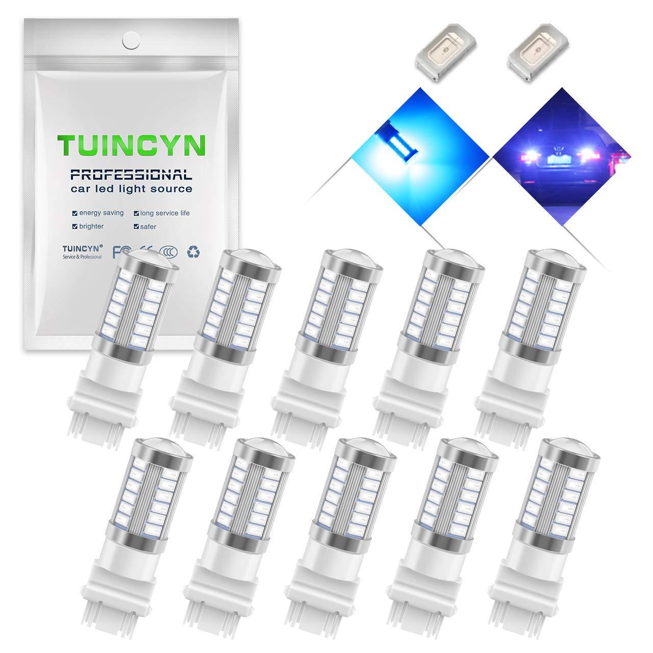 TUINCYN 3157 3155 3156 3157A 3457A LED Brake Light Bulb Blue 5630 33SMD 900 Lumens Super Bright Tail Light Back Up Reverse Light Parking Light Turn Signal Light DC 12V Pack of 4