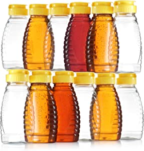Pack of 12 – Empty Bottles for Honey– Clear Plastic Honey Jars - Plastic Honey Container Refill – 8 Oz Squeeze Honey Bottle with Leak Proof Flip-Top Caps for Easy Dispensing - BPA Free Food Safe
