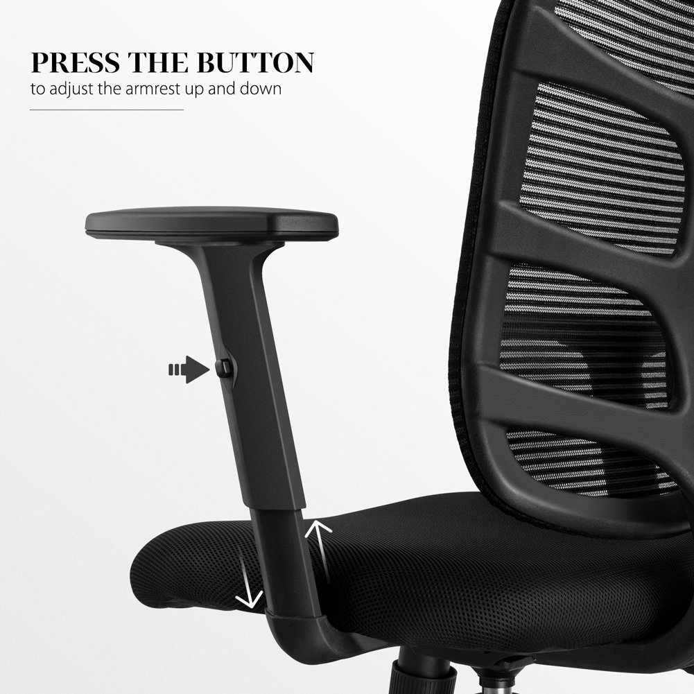 NKV Ergonomic Office Chair Mesh Computer Desk Chair Swivel Task Chair with Adjustable Armrests (Black) by NKV (Image #6)