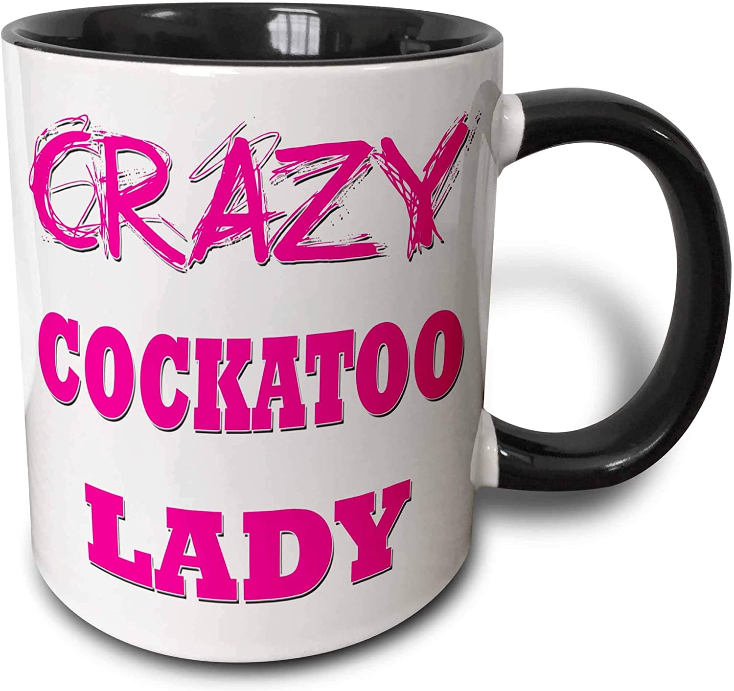 Amazon Com Novelty Ceramic Mug 11 Oz Funny Coffee Mug Unique Gift Crazy Cockatoo Lady Two Tone Mug Black Coffee Cup With Colored Rim And Handle For Men Women Kitchen Dining