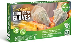 UNNI 100% Compostable Food Prep Gloves, Restaurant-Quality, For Food Handling, Powder-Free, 100 Count, Small, Earth Friendly Highest ASTM D6400, US BPI and Europe OK Compost Certified, San Francisco