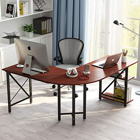 save off 8ca87 9f3b0 LITTLE TREE L-Shaped Computer Desk, 67 inch Modern Corner Computer Desk  Study Workstation Gaming Table with Shelves Storage for Home Office