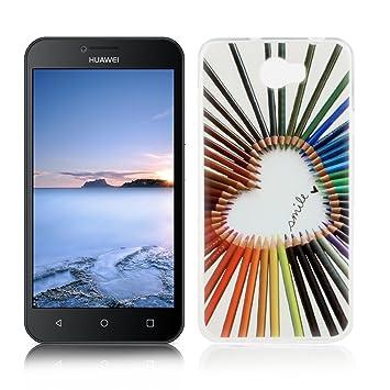 OuDu Funda para Huawei Y5 II/Y5 2 Carcasa Protectora Caso Silicona TPU Funda Suave Soft Silicone Case - Amor Colorido