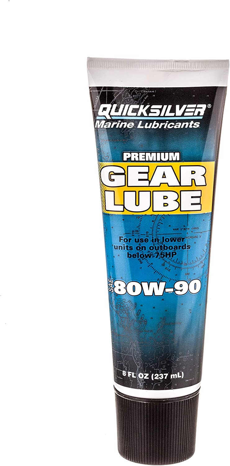 Quicksilver 802844Q02 Premium Gear Lube SAE 80W-90 for Marine Outboard Engines 75 Hp or Lower, 9-Ounce Tube