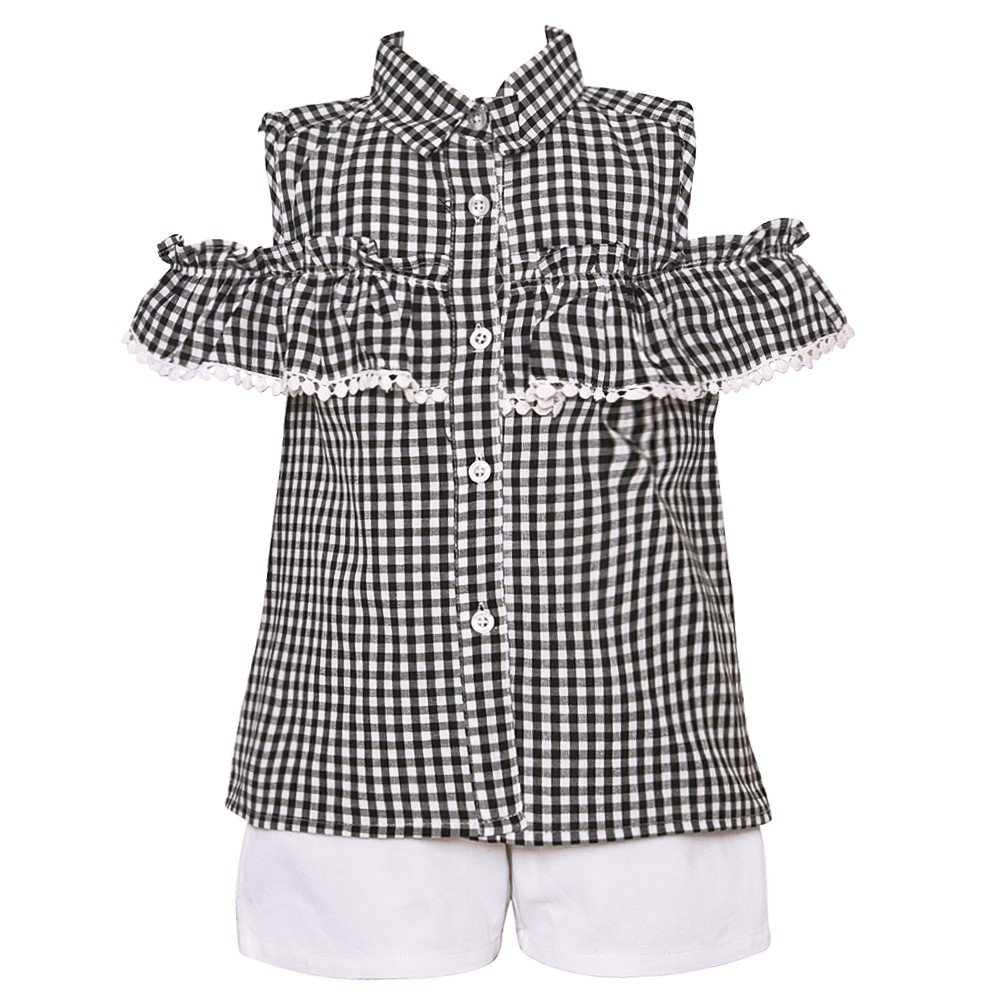 Little Girls Black White Checkered Print Cold Shoulder 2 Pc Shorts Outfit 2T-6X
