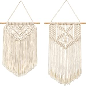 """Mkono 2 Pcs Macrame Wall Hanging Art Woven Wall Decor Boho Home Chic Decoration for Apartment Bedroom Living Room Gallery, Small Size 13"""" L x 10"""" W and 16"""" L x 10"""" W"""