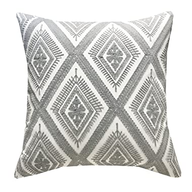 SLOW COW Cotton Embroidery Throw Pillow Cover Decorative Cushion Cover 18x18 Inch Gray