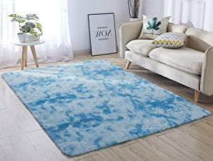 ACTCUT Super Soft Indoor Modern Shag Area Silky Smooth Fur Rugs Fluffy Rugs Anti-Skid Shaggy Area Rug Dining Room Home Bedroom Carpet Floor Mat 5.3' x 7.3' (Blue &)