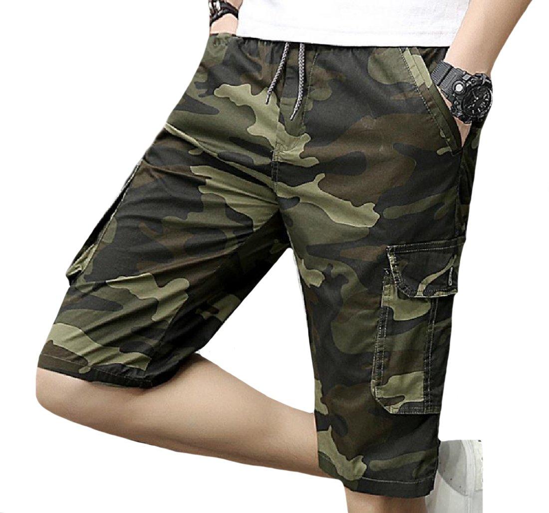 LoveSky-Men Camo Twill Elastic Beachwear Cargo Work Midi Shorts Green L