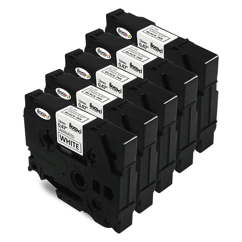 Madabcom, 5x Nastro Cartucce Etichette TZe-231 TZ-231 TZ 231 Adesive Laminato Standard Cartucce (12mm x 8m) Nero su Bianco Compatibile con Brother P-Touch 1000W 1010 1090 1830VP 2030VP 2100VP 2430PC 2470 2730VP 7100 VP7600VP H100R H300 D200VP 1200 1230 126