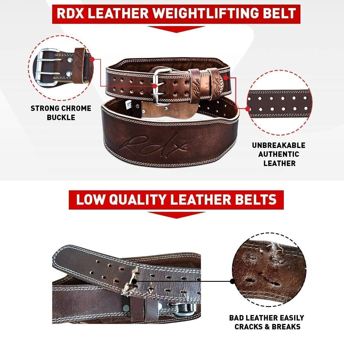 RDX Weight Lifting Belt 6'' Cow Hide Leather Double Prong Back Support Gym Exercise Bodybuilding Training Workout by RDX (Image #7)