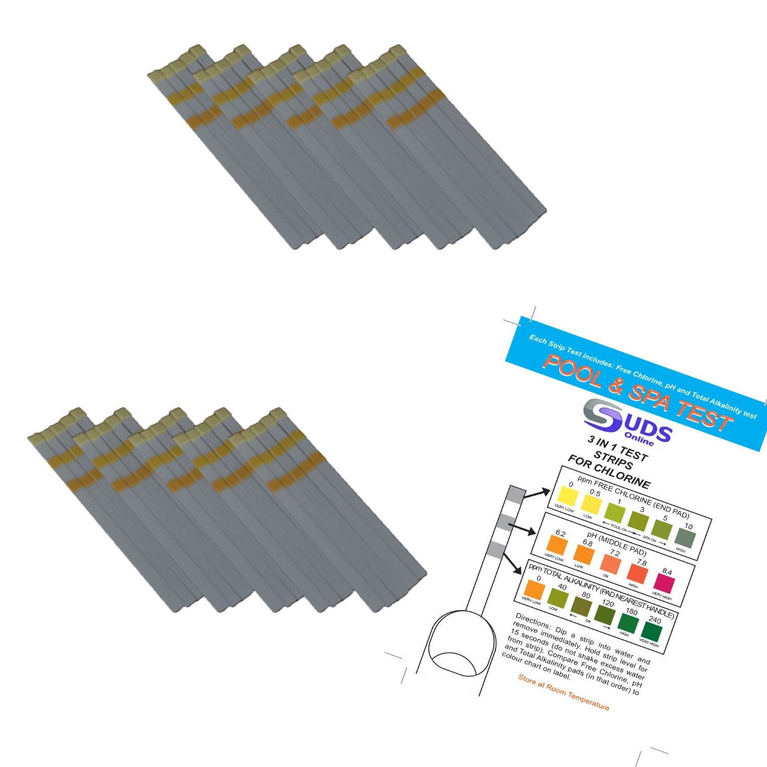 100 x 3 in 1 - Chlorine Test Strips for Swimming Pools Spas & Hot Tubs - Free Chlorine, pH & TA