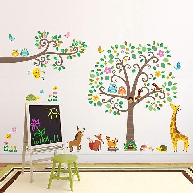 rouleau Dm-1502p1512 stickers autocollant muraux stickers muraux pour enfants branches et animaux DW-1512N//DM-1502N//DM-1502P1512 Large arbre Decowall