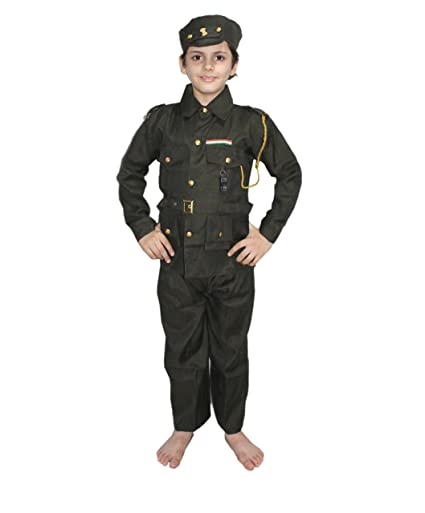 d95d278582c KAKU FANCY DRESSES Kid's Polyester Indian Army Our Helper,National Hero  Costume for School Annual Function,Theme Party
