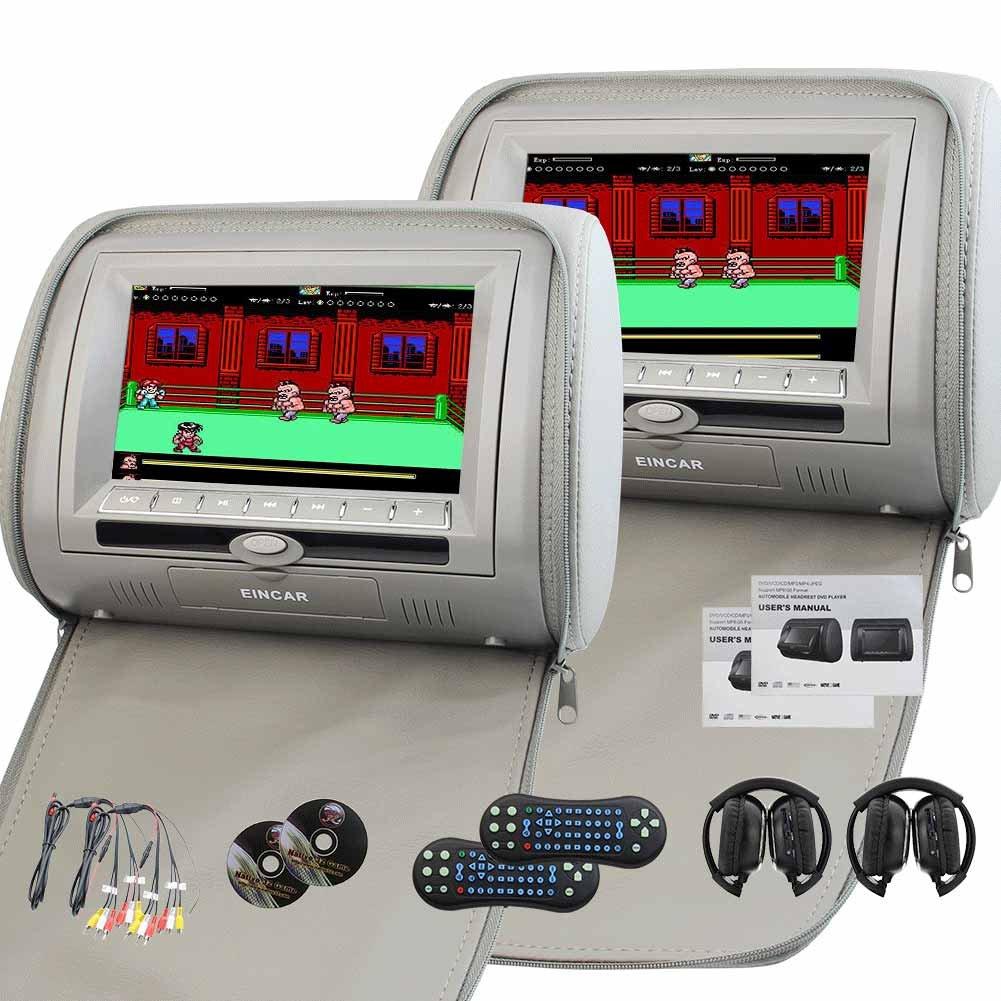 ヘッドホン付属! EinCar 7 ''グレー 液晶画面 車載用DVDプレーヤーx2 ヘッドレストモニター リモコン付属 サポート赤外線FMトランスミッター USB SDスロット搭載+ゲームパッド*2 B01N5G57UP