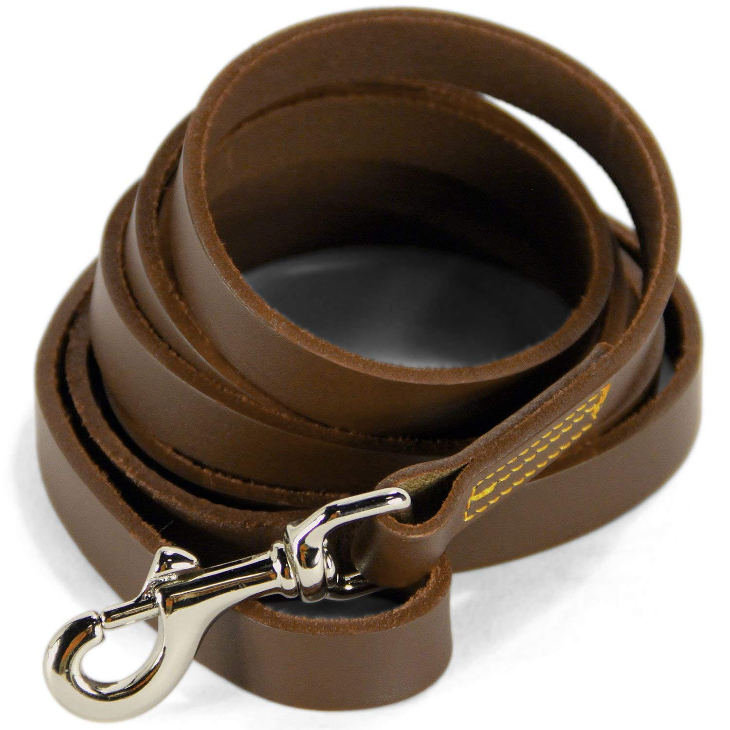 Logical Leather Dog Training Leash - Full Grain Leather Lead for Large Dogs - Brown by Logical Leather
