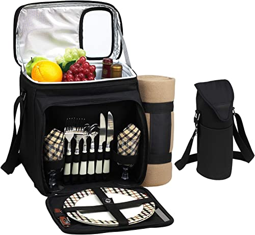 Picnic at Ascot Original Cooler Equipped for 2 with Extra Wine Tote and Blanket – Designed and Assembled in California – London Plaid