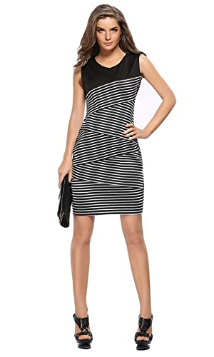 Zhaoyun Womens Elegant Sleeveless Striped Wear to Work Cocktail Pencil Party Dress