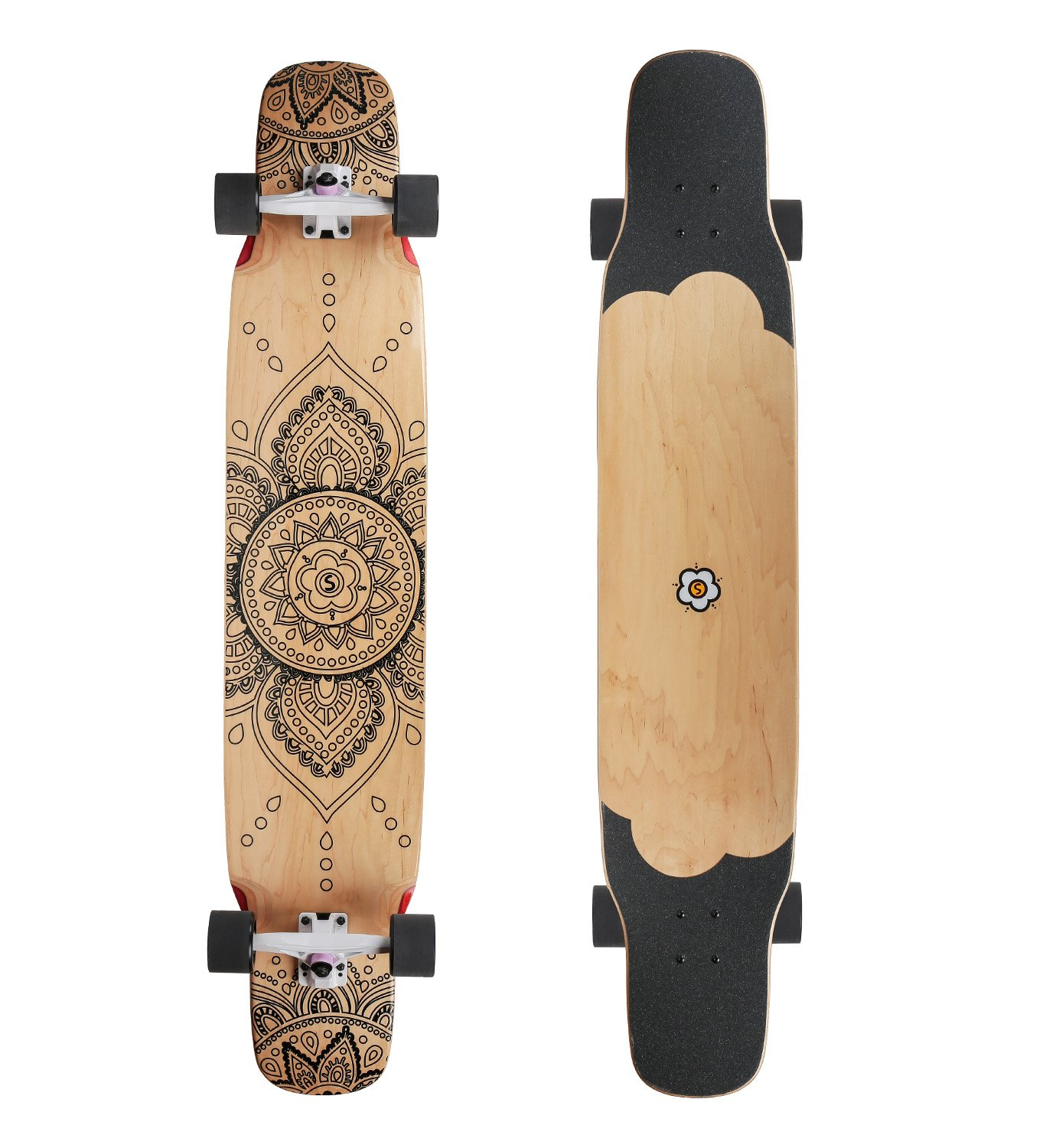 7 Plies Maple Unisex Professional Complete Longboard 46 inch Drop Deck for Dancing, Cruising, Carving, Free-Style and Downhill by HN Skateboard