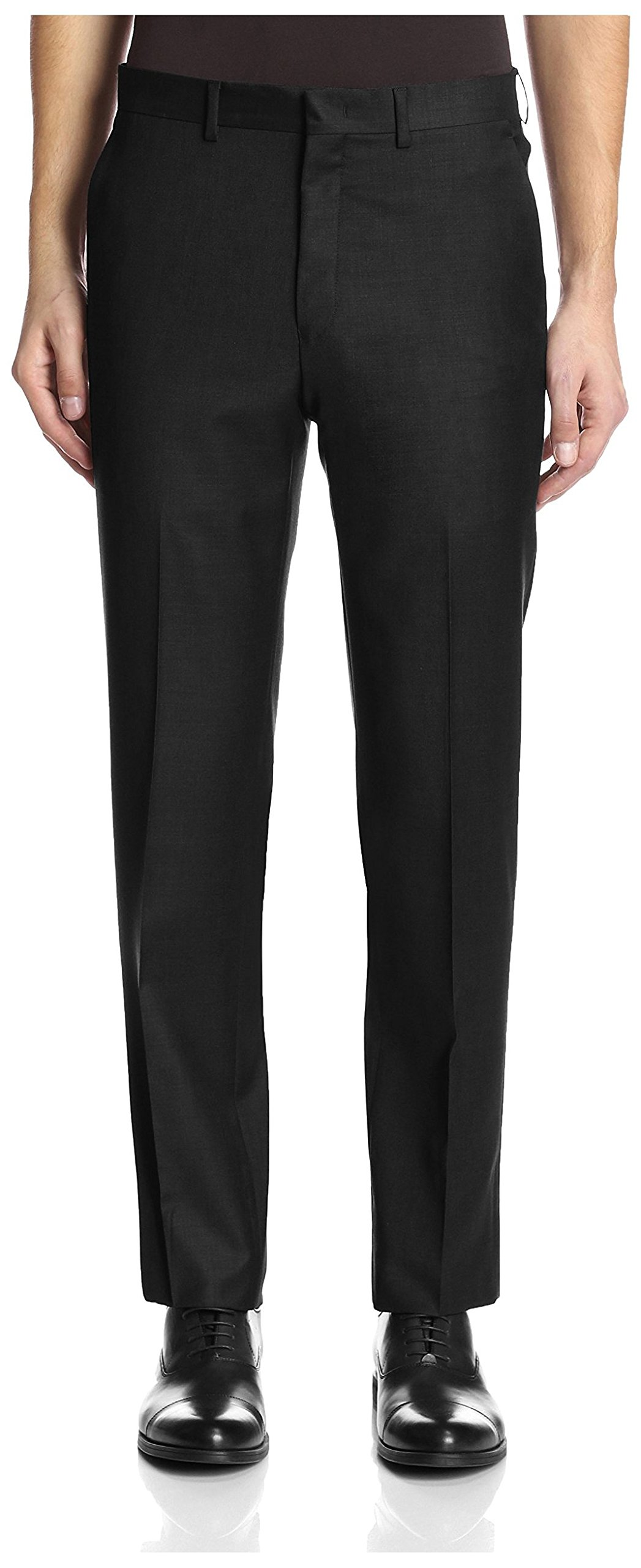 Franklin Tailored Men's Solid Trousers, Black, 34 US