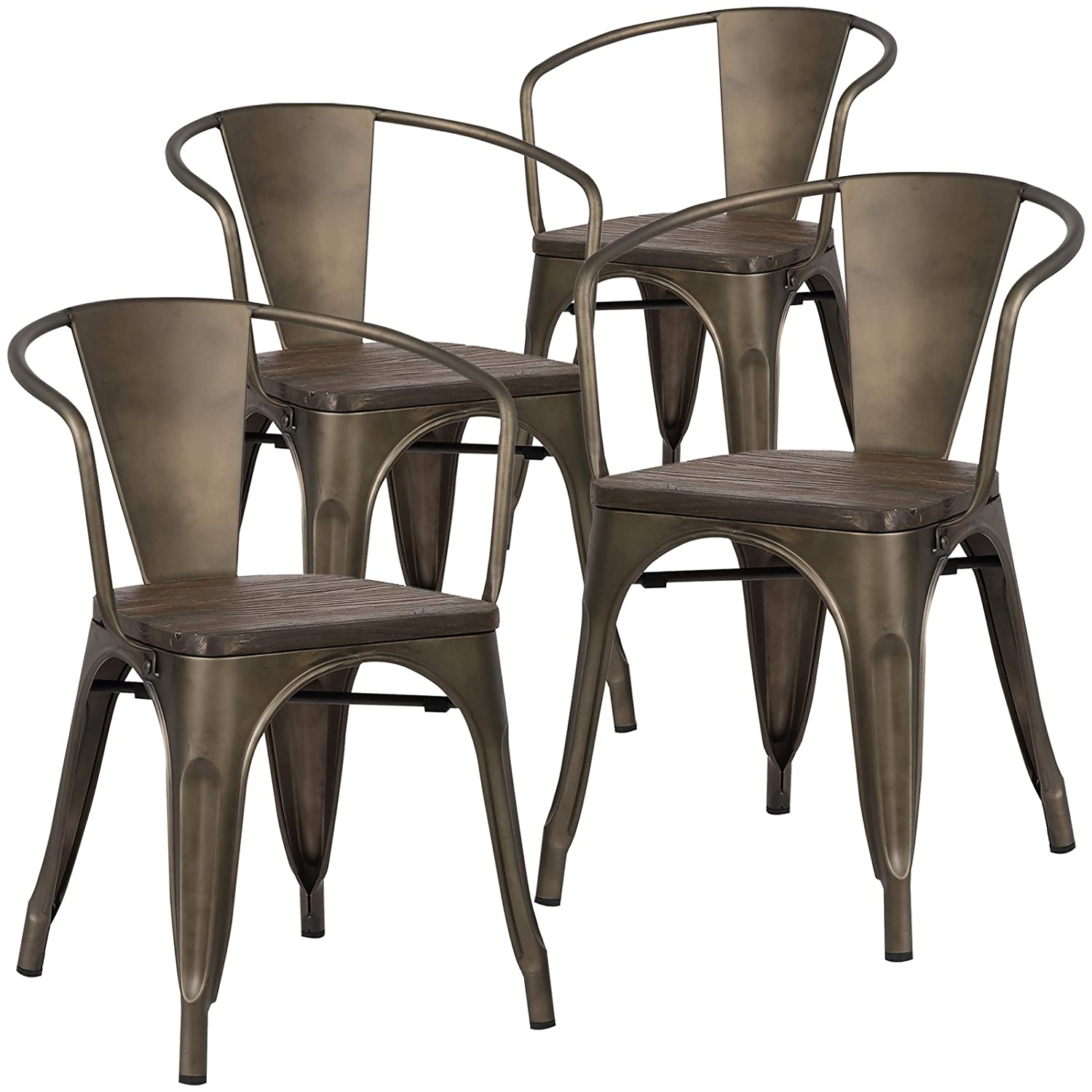 Poly and Bark EM-113-ELM-BRZ-X4 Trattoria Arm Chair with Elm Wood Seat (Set of 4) - Bronze