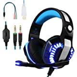 BlueFire Professional Stereo Gaming Headset for PS4, Xbox One Headphones with Mic and LED Lights for PlayStation 4, Xbox One, PC (Blue)