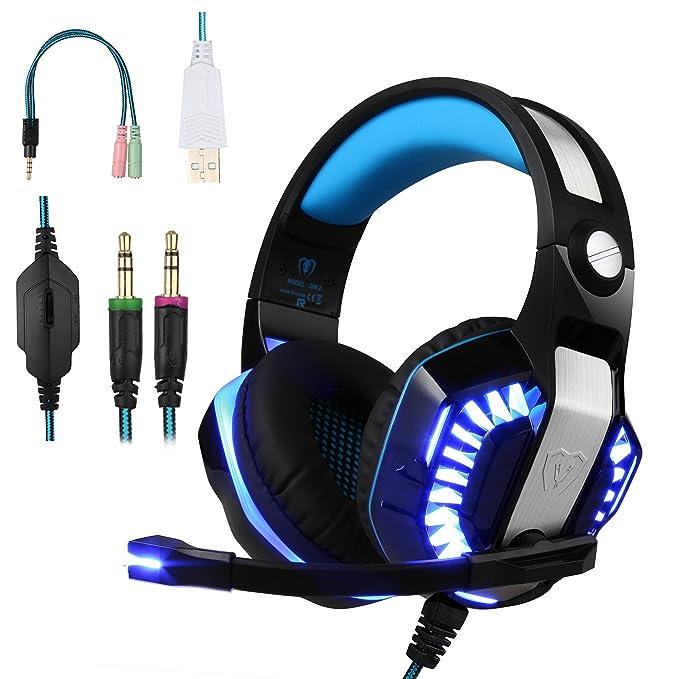 BlueFire Cascos para Xbox One PS4, Auriculares Gaming Bajo Envolvente Estéreo de Luz LED con Micrófono 3.5mm Puerto Compatible con Xbox One, PS4,PC y Smartphone (Azul)