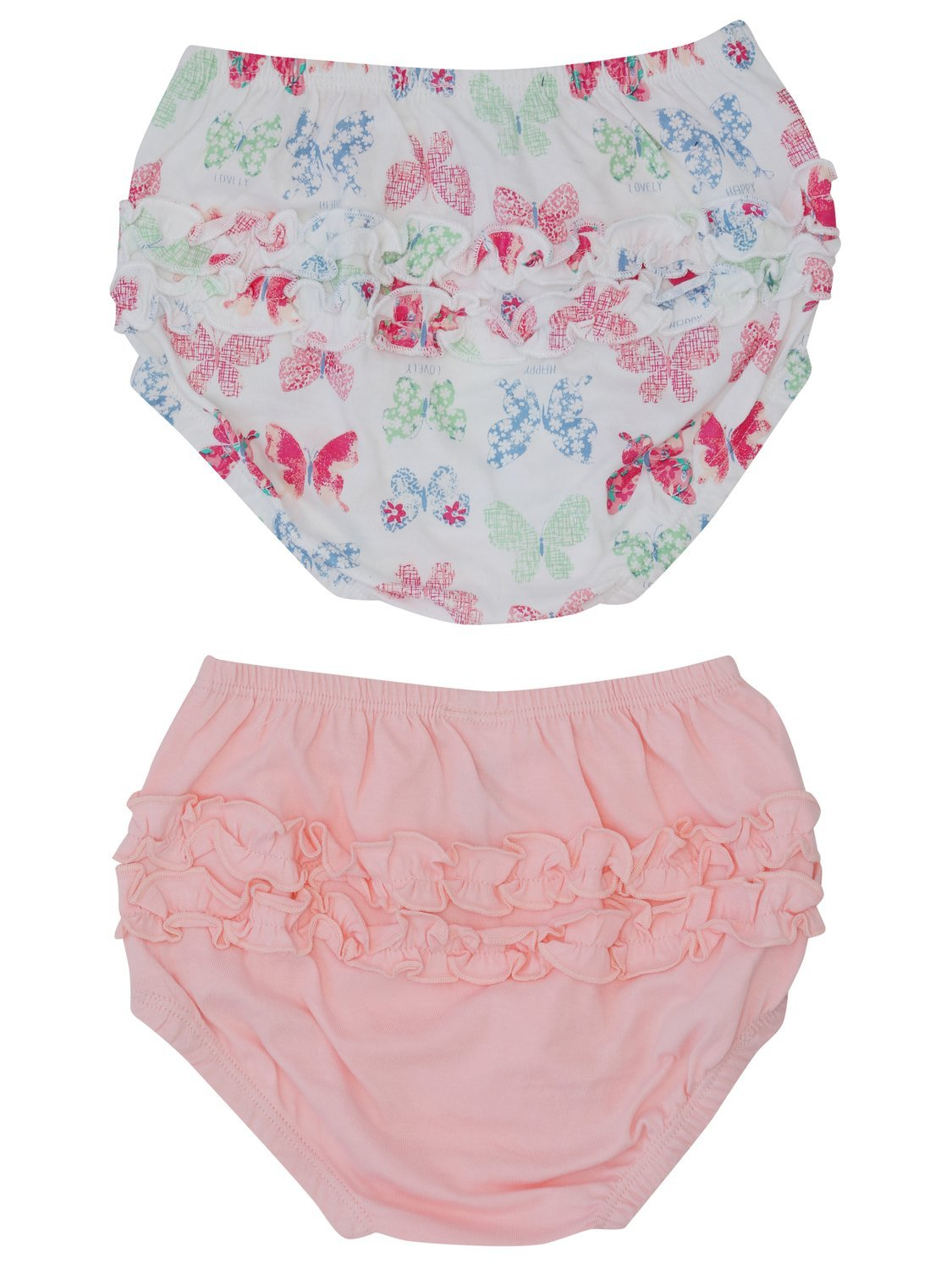 M& Co Baby Girl 100% Cotton Plain Pink Butterfly Print Ruffle Frilly Knickers Two Pack