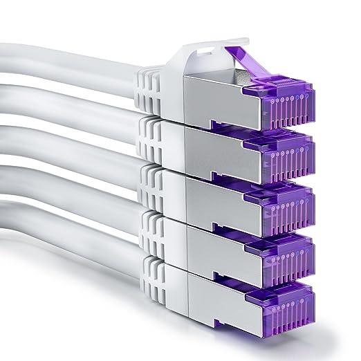 3 opinioni per [SET 5 pezzi] deleyCON 0,5m RJ45 Cavo Patch- S-FTP PiMF- Cavo di Rete CAT7 /